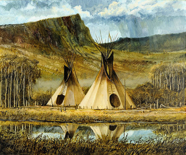 Native Painting - Reflected Tipis by Steve Spencer