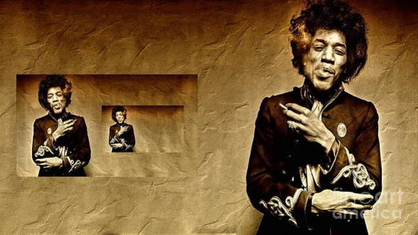 Art Print featuring the photograph Reflecting On Jimi Hendrix  by Andrea Kollo