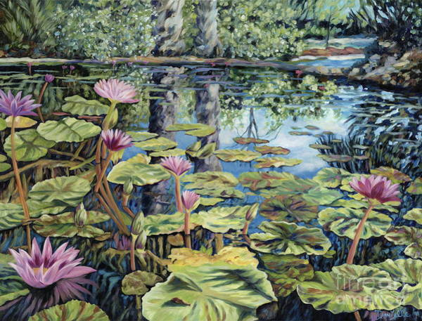 Lilly Pad Wall Art - Painting - Reflecting Pond by Danielle  Perry