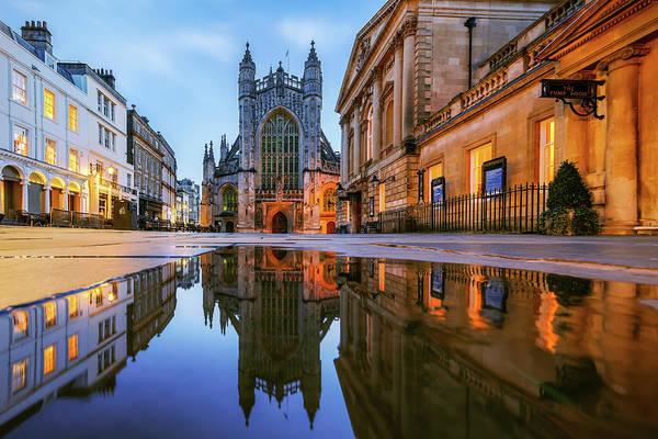 Bath Abbey Photograph - Reflection, Bath Abbey, Roman Baths by Joe Daniel Price