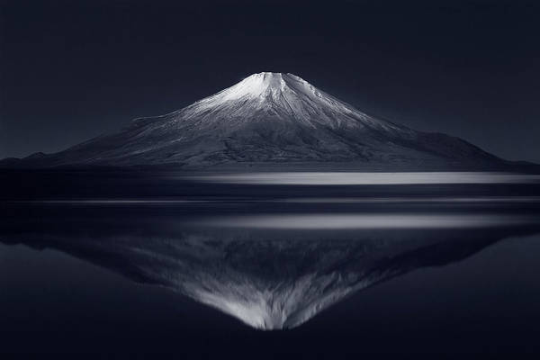 Mounted Photograph - Reflection Mt. Fuji by Takashi Suzuki