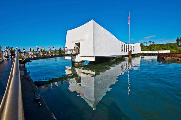 Uss Arizona Wall Art - Photograph - Reflection Of A Memorial In Water, Uss by Panoramic Images