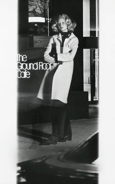 Sign Photograph - Reflection Of A Model Wearing A Henry Friedrich by Kourken Pakchanian