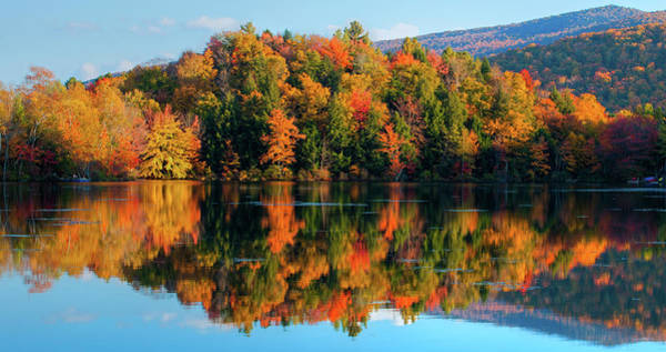 Bolton Photograph - Reflection Of Autumn Trees In A Lake by Panoramic Images