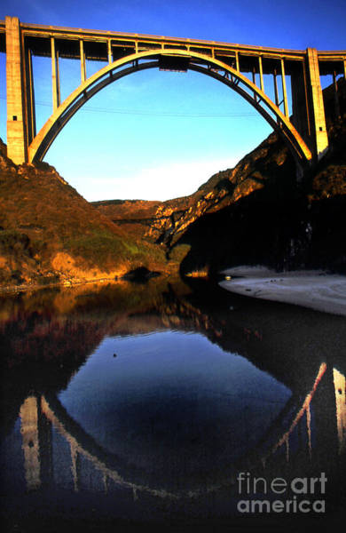 Photograph - Reflection Of Bixby Creek Bridge From Bixby Beach California 1999 by California Views Archives Mr Pat Hathaway Archives