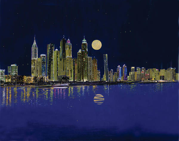 Dubai Marina Painting - Reflection Of City by Art Tantra