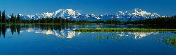 Reflection Of Mountains In Lake, Mt Art Print