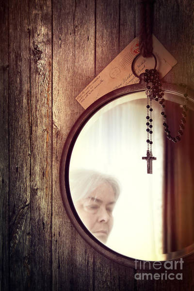Photograph - Reflection Of Old Woman And Rosary Beads On Mirror by Sandra Cunningham