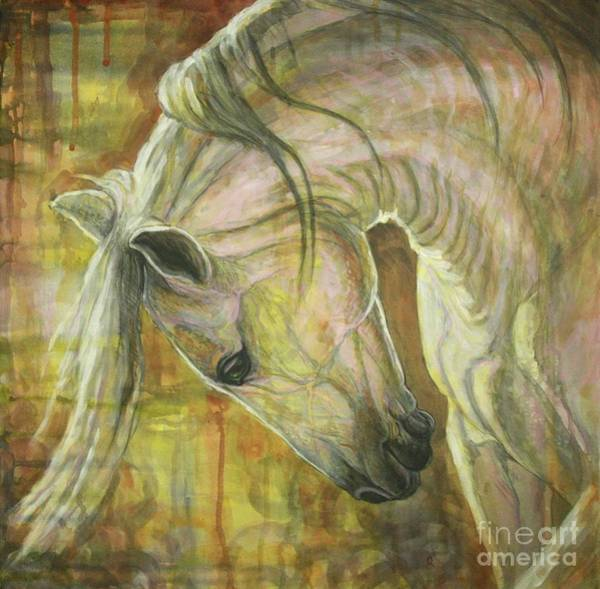 White Horse Painting - Reflection by Silvana Gabudean Dobre