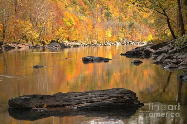 Photograph - Reflections And Boulders In The New River by Adam Jewell