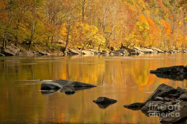 Photograph - Reflections And River Rocks In The New River by Adam Jewell