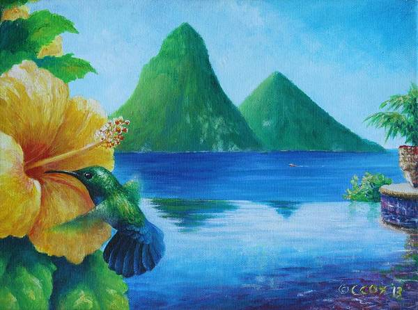 Painting - Reflections At Jade - Green-throated Carib And Hibiscus by Christopher Cox