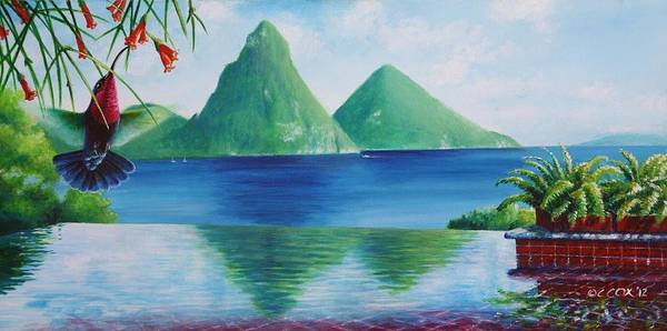 Painting - Reflections At Jade - Purple-throated Carib And Coral Plant by Christopher Cox