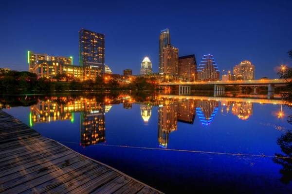 Downtown Austin Photograph - Reflections by Dave Files