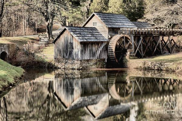 Photograph - Reflections In The Mabry Mill Pond by Adam Jewell