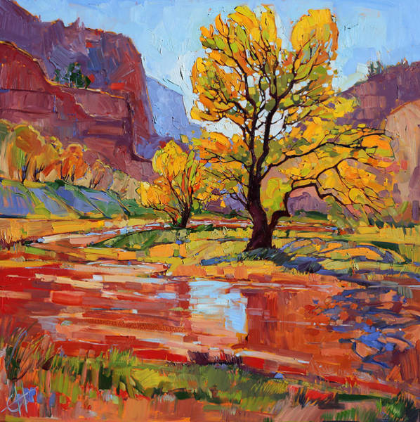 Zion Painting - Reflections In The Wash by Erin Hanson