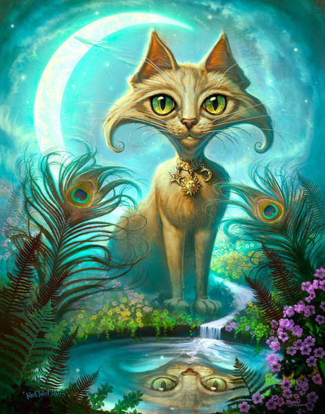 Beautiful Cats Wall Art - Painting - Reflections by Jeff Haynie