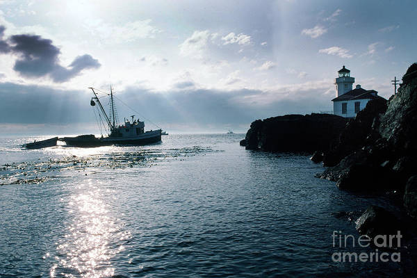 Photograph - Reflections Lime Kiln Point Lighthouse San Juan Island 1983 by California Views Archives Mr Pat Hathaway Archives