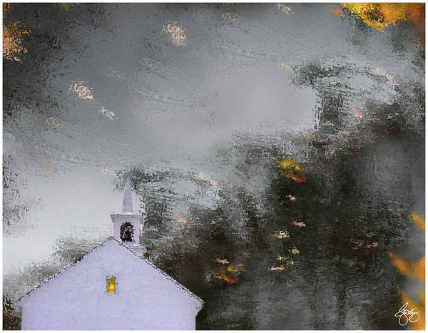 Photograph - Reflections Of A Chapel In Autumn Water by Wayne King