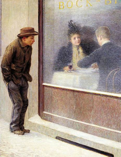 Hunger Painting - Reflections Of A Hungry Man Or Social Contrasts by Emilio Longoni