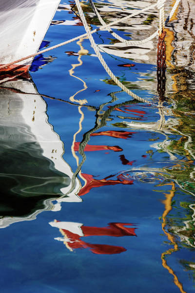 Wall Art - Photograph - Reflections Of Boats In Harbor by Pixelchrome Inc