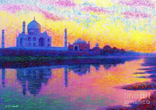 Domes Wall Art - Painting - Taj Mahal, Reflections Of India by Jane Small