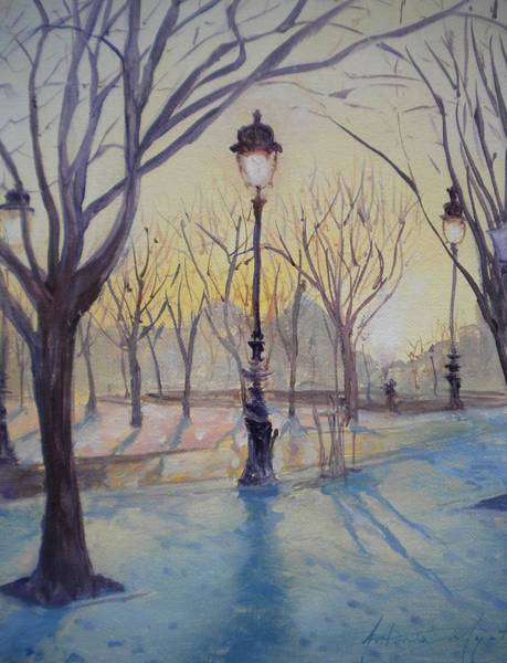 Invalides Photograph - Reflections Of Lamp Post Dome Church, 2010 Oil On Canvas by Antonia Myatt