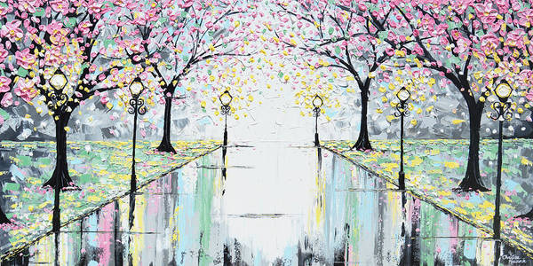 Wall Art - Painting - Reflections Of Springtime - Pink Cherry Trees by Christine Bell