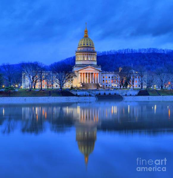Photograph - Reflections Of The West Virgina Capitol Building by Adam Jewell