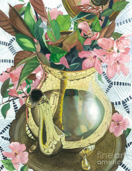 Wall Art - Painting - Reflections On A Brass Teapot by Barbara Jewell