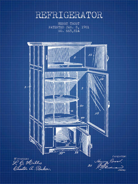 Frozen Digital Art - Refrigerator Patent From 1901 - Blueprint by Aged Pixel