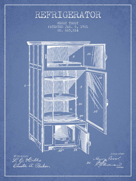 Frozen Digital Art - Refrigerator Patent From 1901 - Light Blue by Aged Pixel