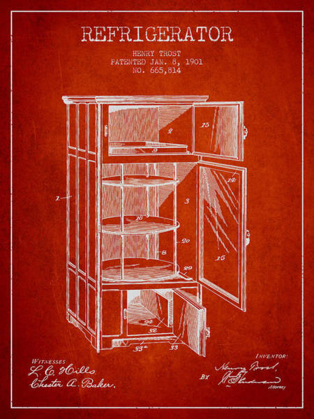 Frozen Digital Art - Refrigerator Patent From 1901 - Red by Aged Pixel