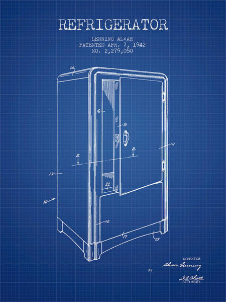 Frozen Digital Art - Refrigerator Patent From 1942 - Blueprint by Aged Pixel