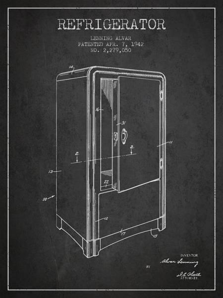 Wall Art - Digital Art - Refrigerator Patent From 1942 - Dark by Aged Pixel