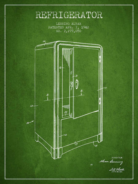 Frozen Digital Art - Refrigerator Patent From 1942 - Green by Aged Pixel