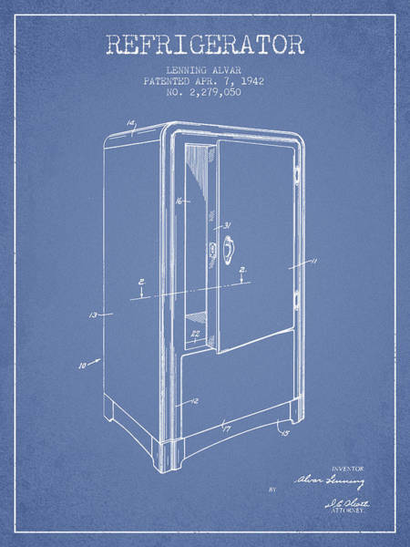 Frozen Digital Art - Refrigerator Patent From 1942 - Light Blue by Aged Pixel