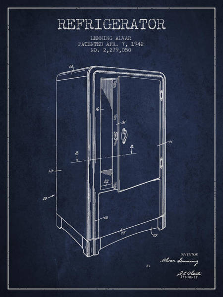 Frozen Digital Art - Refrigerator Patent From 1942 - Navy Blue by Aged Pixel
