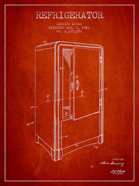 Frozen Digital Art - Refrigerator Patent From 1942 - Red by Aged Pixel