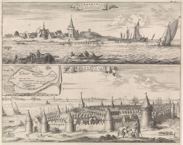 Reconstruction Drawing - Reimerswaal In Past And Present Times, 1634 by Jan Luyken And Johannes Meertens And Abraham Van Someren