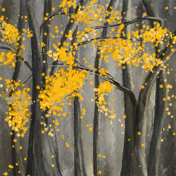 Rejuvenating Elements- Yellow And Gray Art Art Print