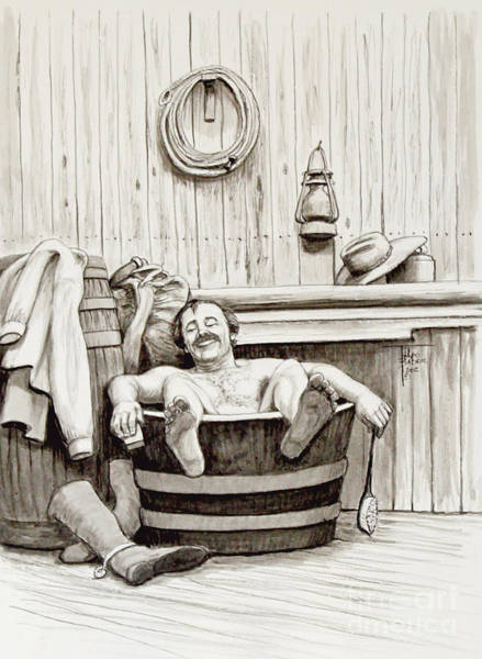Drawing - Relaxing Bath - 1890's by Art By - Ti   Tolpo Bader