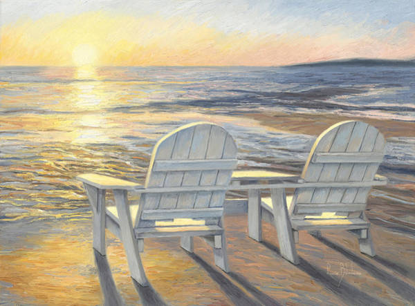 Outdoors Painting - Relaxing Sunset by Lucie Bilodeau