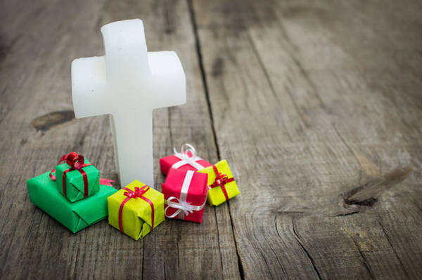 Gift Wrap Photograph - Religious Cross With Presents by Aged Pixel
