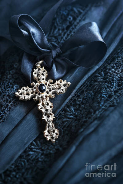 Photograph - Religious Crucifix With Satin Ribbon On Lace by Sandra Cunningham
