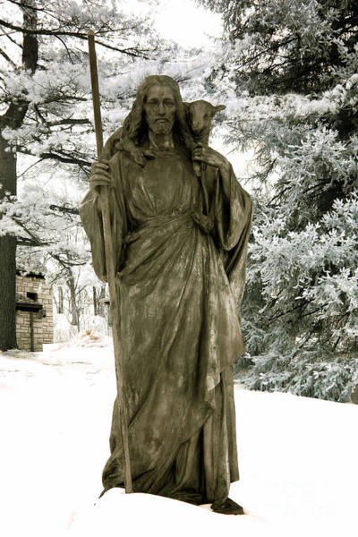 Lamb Of God Wall Art - Photograph - Religious Jesus Statue Holding Lamb Winter Scene by Kathy Fornal