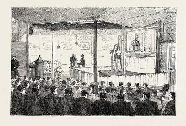 Wall Art - Drawing - Religious Services In Jail The Roman Catholic Chapel by English School