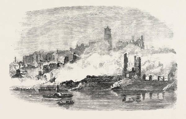 Explosion Drawing - Remains At Gateshead Site Of The Explosion 1854 by English School