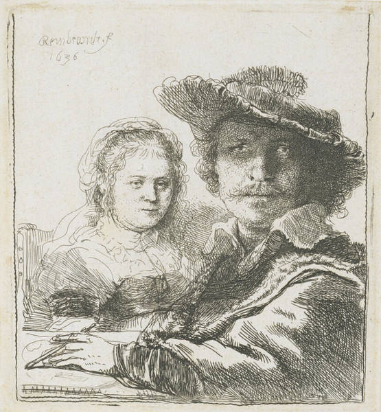 Drawing - Rembrandt And His Wife Saskia by Celestial Images