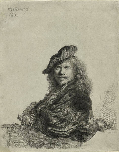 Wall Art - Drawing - Rembrandt Self Portrait 1639 by Movie Poster Prints